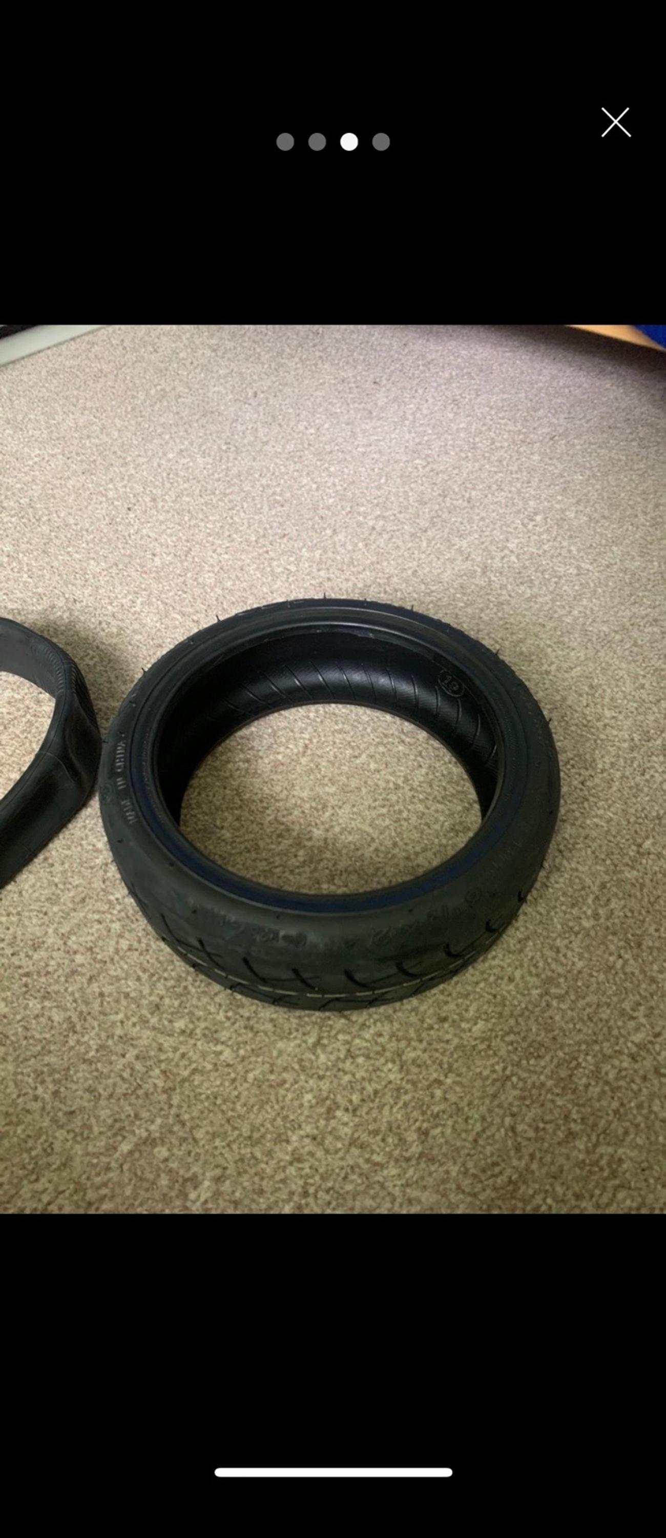 Upgraded tire with inner tube.Both are thicker than the original stock.  I have other stuff available for sale.  Please check my other listings. Follow me. I'll have other stuff coming soon.  Cash only. Fitting on request for a combine price. Message.  Check out my Instagram page. #Lee_miscooterrepairs