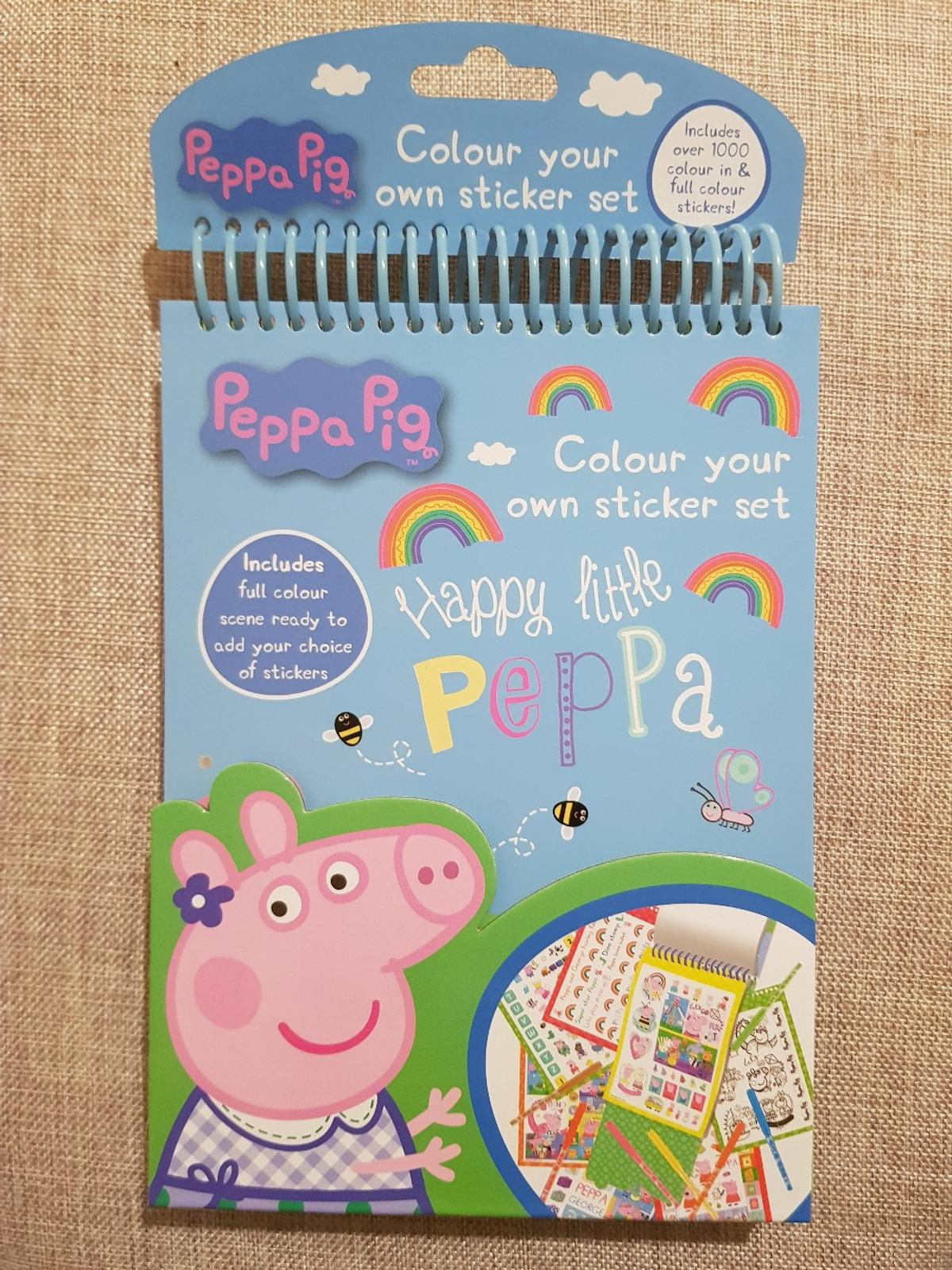 brand new NO OFFERS Peppa pig colour your own sticker set includes over 1000 colour in and full colour stickers. 2 available £1.40 each COLLECTION ONLY IN CRUMPSALL SOCIAL DISTANCING RULES APPLY
