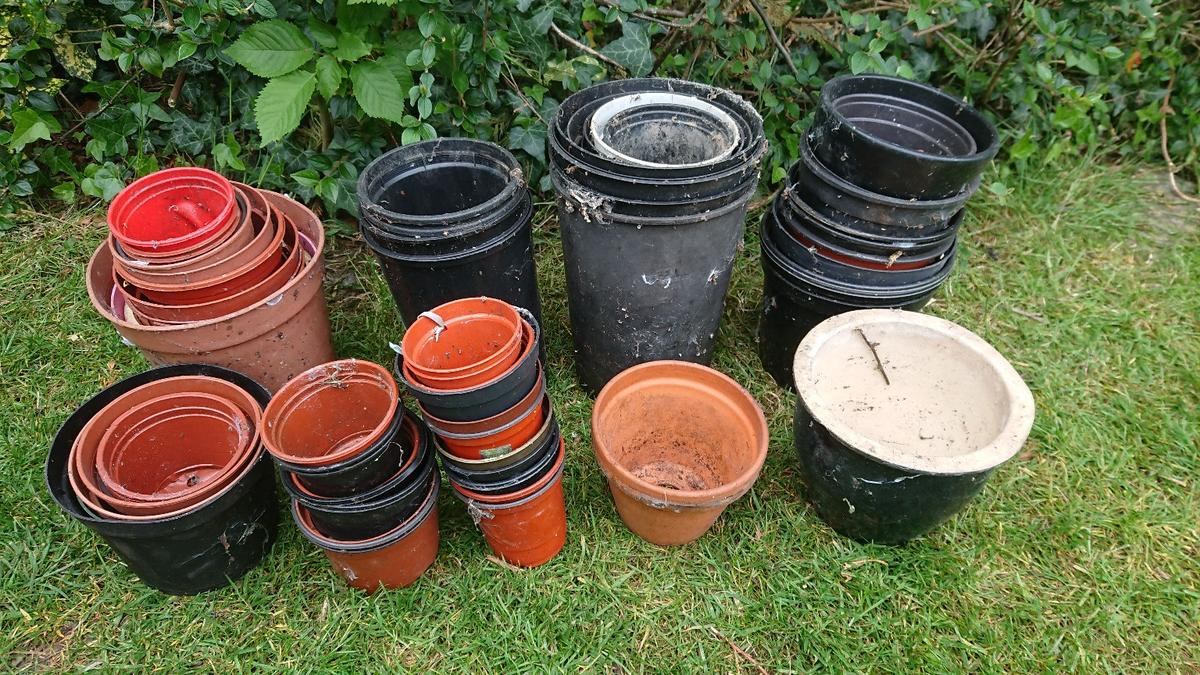 As described in the photo, 70 pots in total, including some ceramic ones. That works ot at 14p per pot! Buyer to collect Stockport area, can deliver locally but there would be a charge for this.