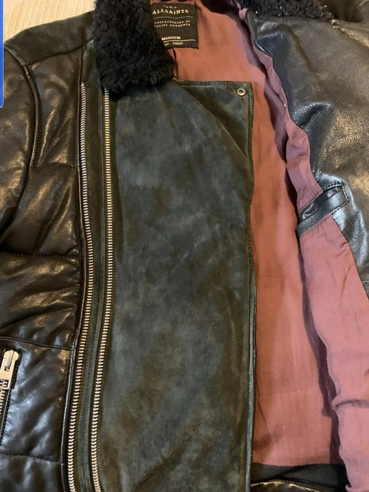 Allsaints leather puffa biker jacket with double zips and waist zip. Upper back suede. size M but can fit slim fit L p2p 22inches A rare peice. Excellent condition like new. grab a bargain