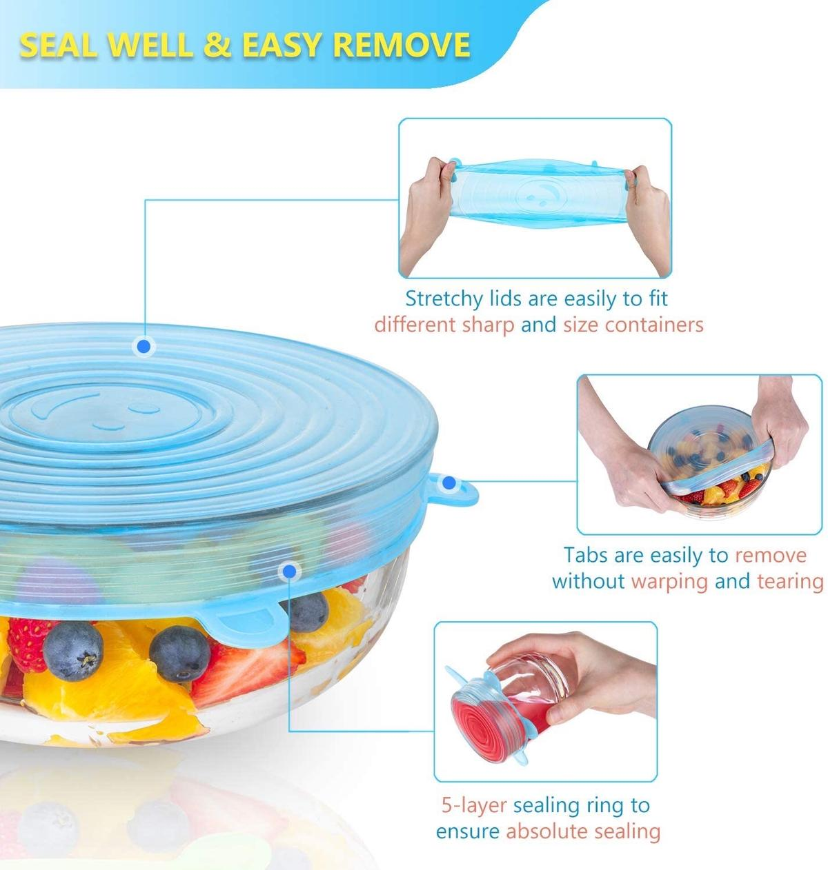 * Silicone Covers,silicone lids covers are made of food grade silicone, 100% imported high quality silicone, harmless.  * Multi-function:Silicone food covers,14pack with 2 colors,come in 7 sizes(6.5 cm, 9.5cm, 11.2cm, 14.2 cm, 16 cm, 20 cm,25cm).The containers can cover in various shapes and sizes, including salad bowls, cans, cups, pots, pans, watermelon, pineapple, melon or other fruits and vegetables.  * Reusable & Durable:Silicone Covers for food,made of high quality silicone, soft texture,