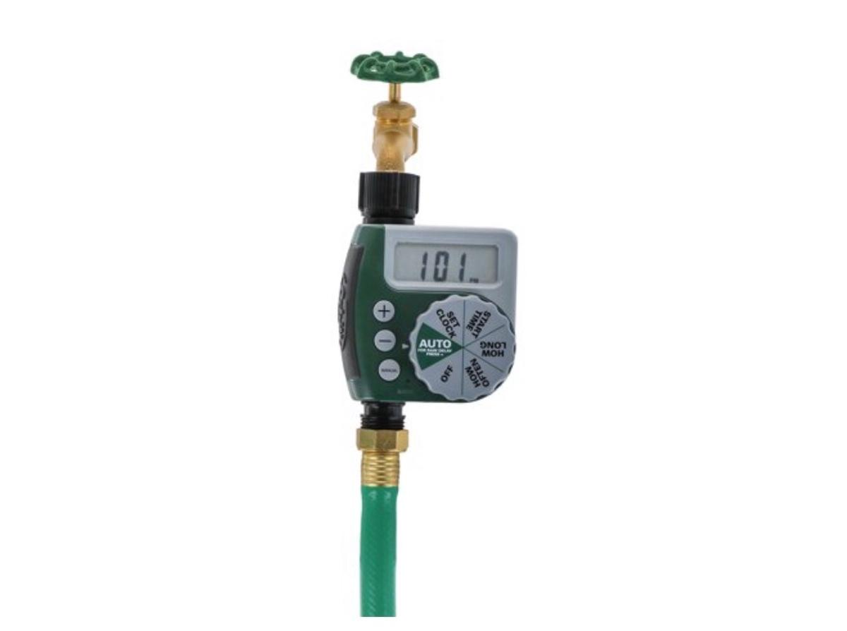 Extra-large LCD display, easy to read Package includes 1electronic water timer and 1 user manual Material: plastic Color: green Size: 150 mm x 95 mm x 55 mm Package size: 170 mm x 125 mm x 75 mm Orbit hose faucet timer has waterproof construction The real color of the item may be slightly different from the pictures shown on website caused by many factors such as brightness of your monitor and light brightness Manual bypass feature