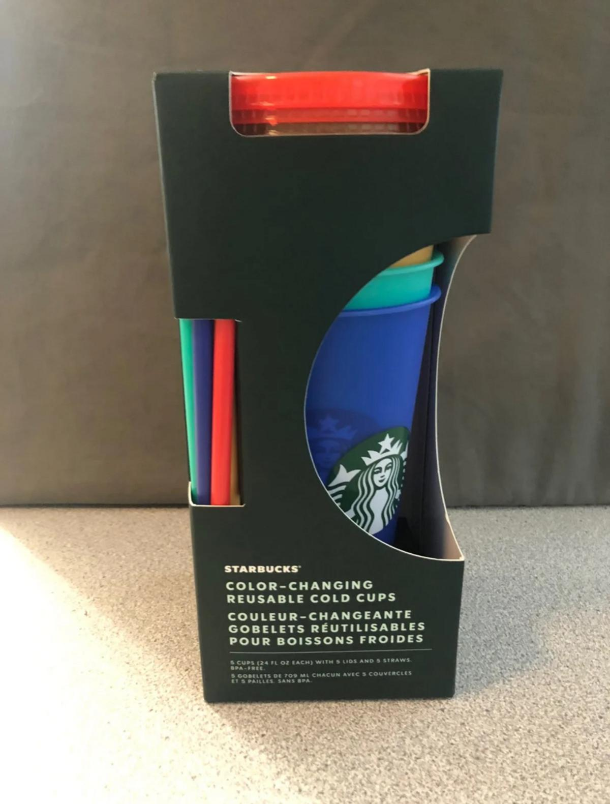 set of 5 color changing cups.  2020 Starbucks Pride!  Limited Edition