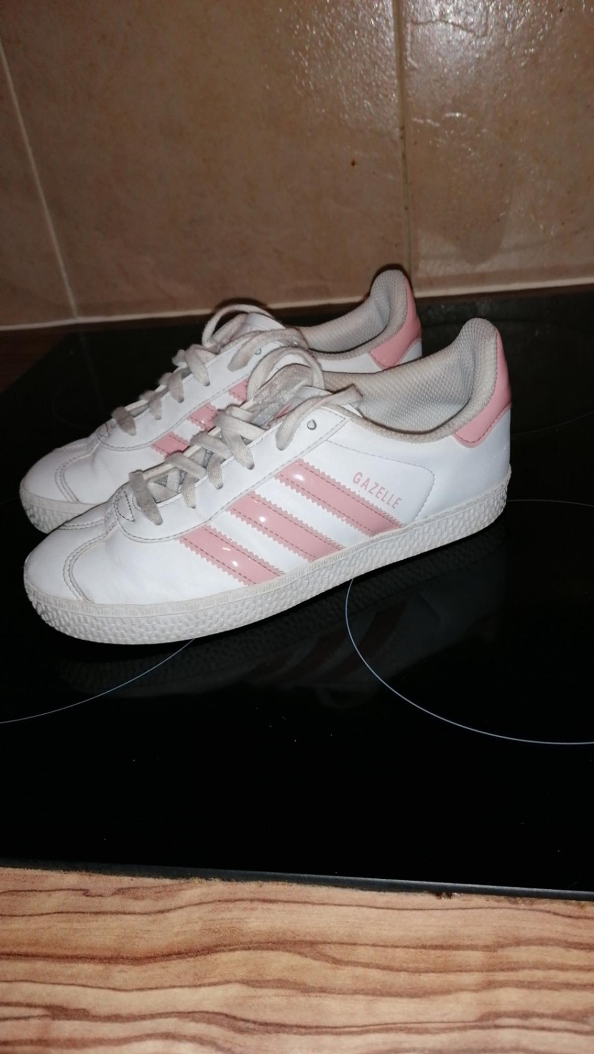 Pink and white Adidas gazelle trainers Size 1 Great condition Collection FY4 area or payment via bank transfer please for 1st class postage sorry I don't have PayPal xx Lots of other items for sale