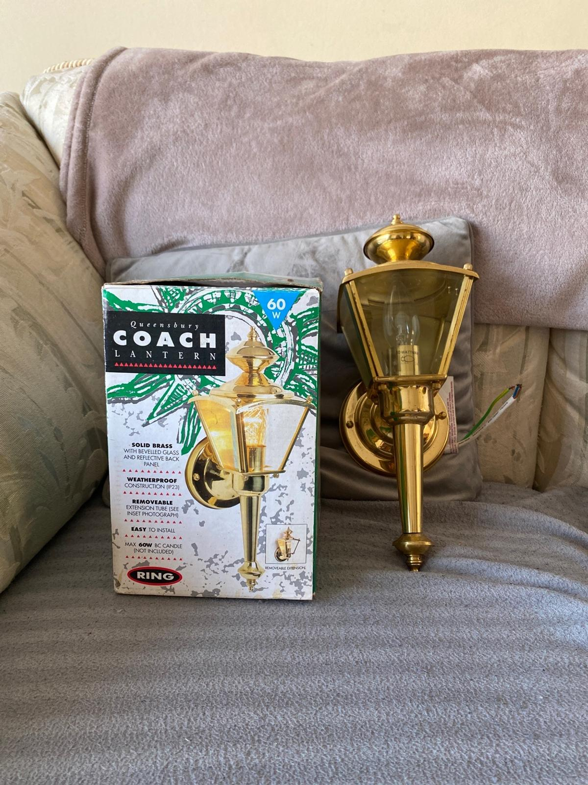 Queensbury Brass Coach Lantern Weatherproof Brand new comes in original box with instructions and fixings-wall plugs and screws