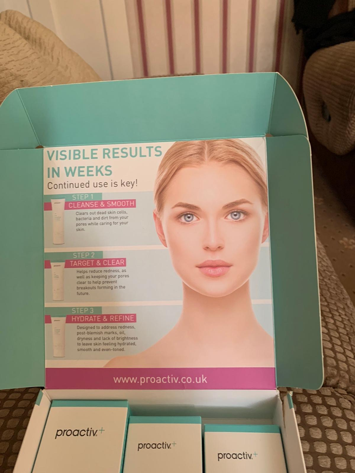 Proactive + 3 step clear skin system , helps clear and prevents pimples, blemishes and breakouts, all 3 items have never been used and has plastic cover on all three items