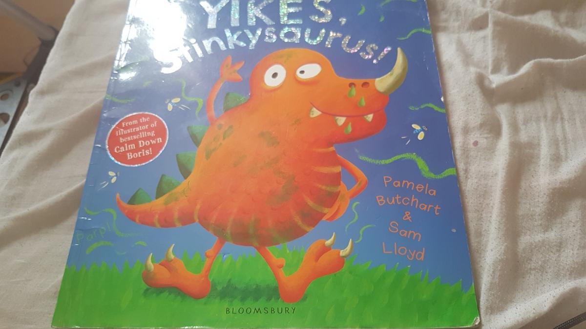 it's a book for kids about a stinky dinosaur.