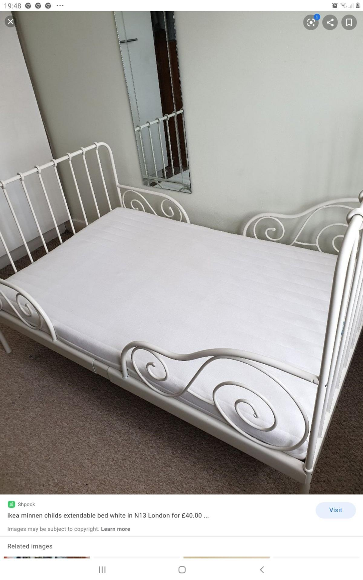 Picture of: White Metal Extendable Childrens Ikea Bed In Ig6 London For 40 00 For Sale Shpock