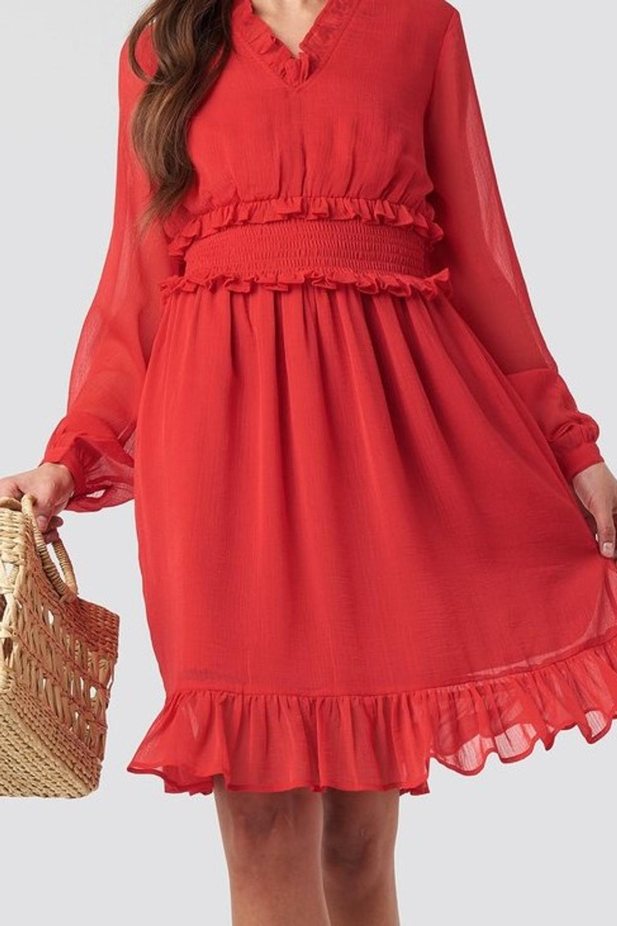 ruffle details flowy mini kleid rot nakd 38 in 99755