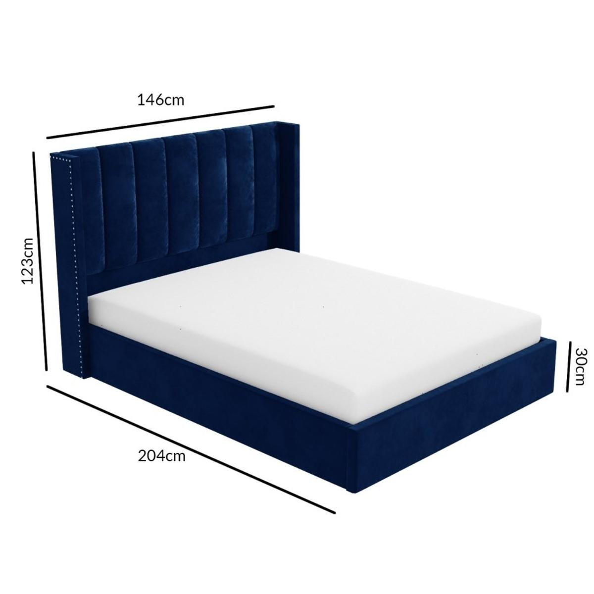 Maddox Wing Back Double Ottoman Bed In Navy In Hd2 Huddersfield For 359 97 For Sale Shpock